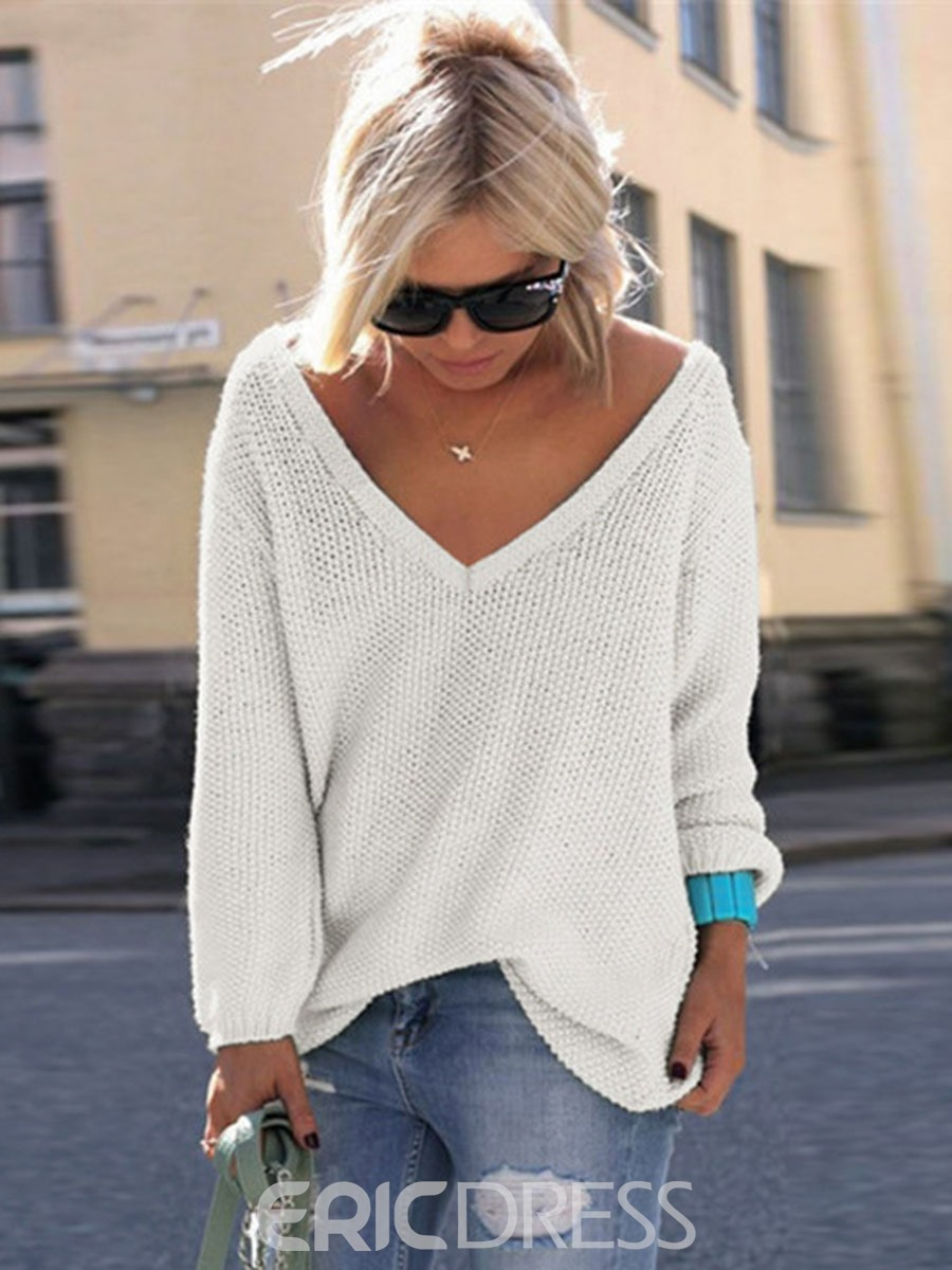Ericdress V-Neck Thin Plain Pullover Knitwear