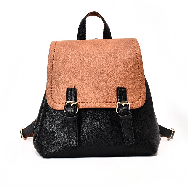 Ericdress Retro Color Block Soft PU Backpack