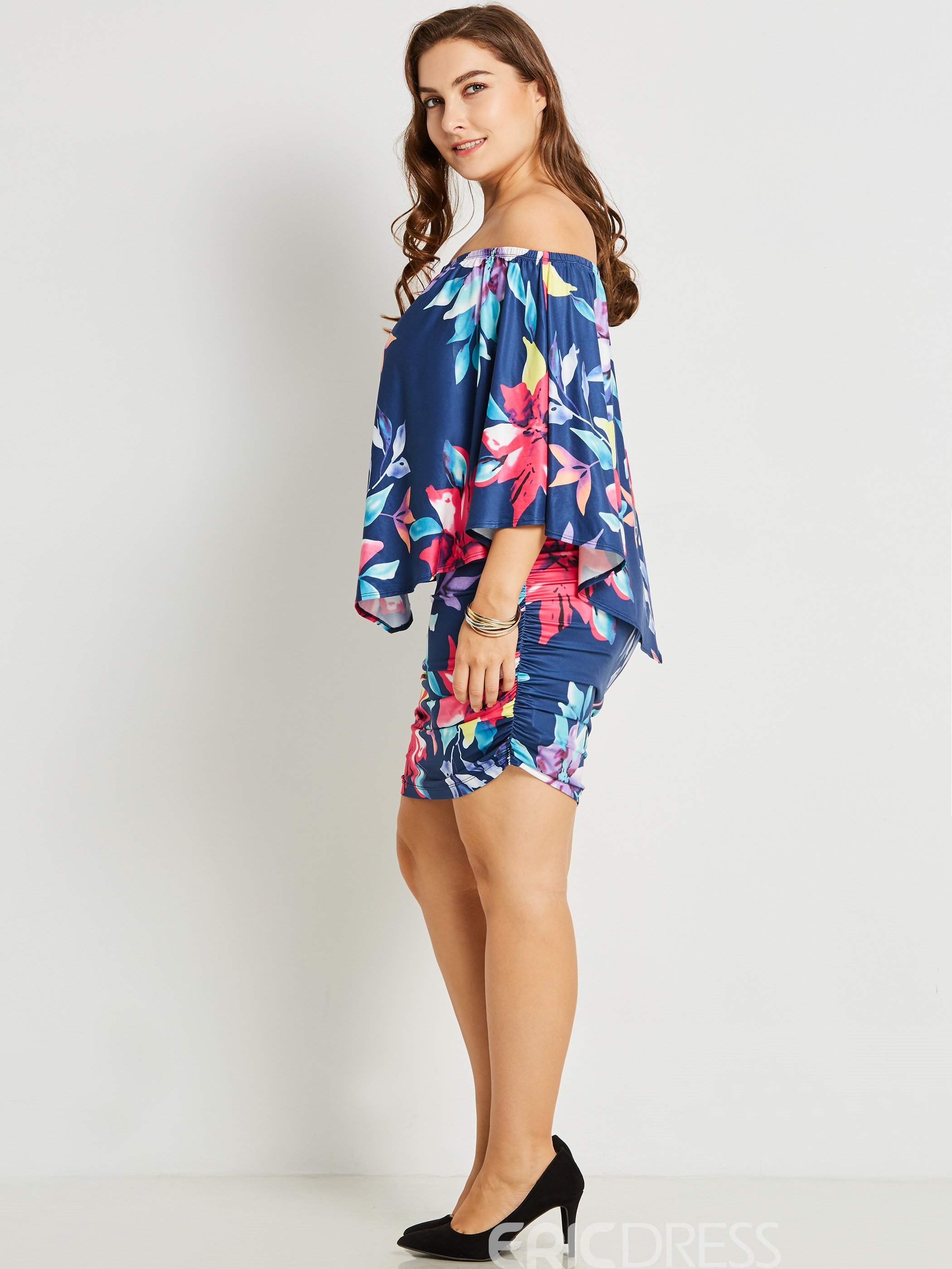 Ericdress Plus Size Off Shoulder Above Knee Floral Print Bodycon Dress