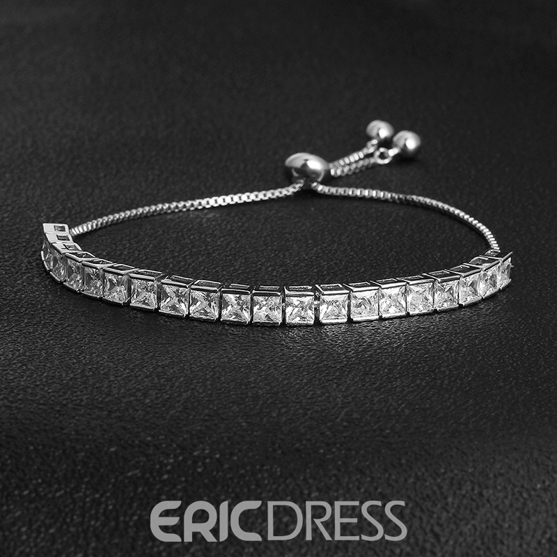 MarkChic European Style Adjustable Square Rhinestone Bracelet