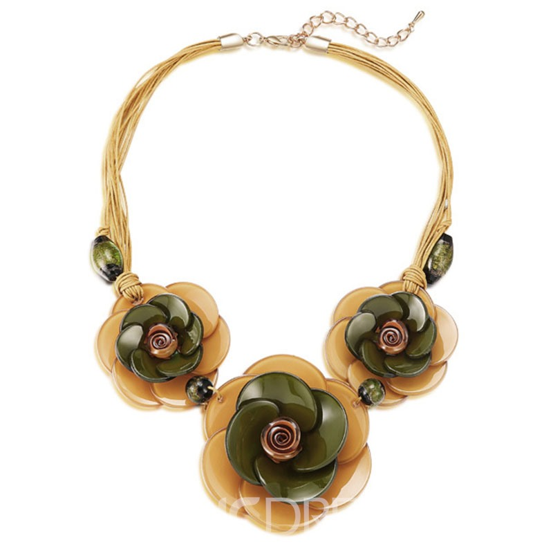 Ericdress Vintage Flower Pendant All Match Arcylic Women's Necklace