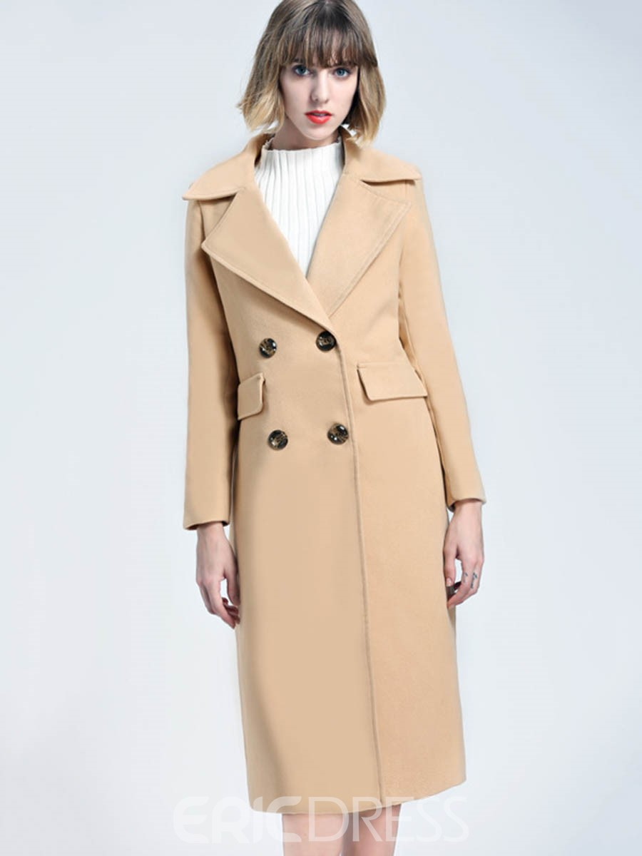 Ericdress Notched Lapel Double-Breasted Mid-Length Coat
