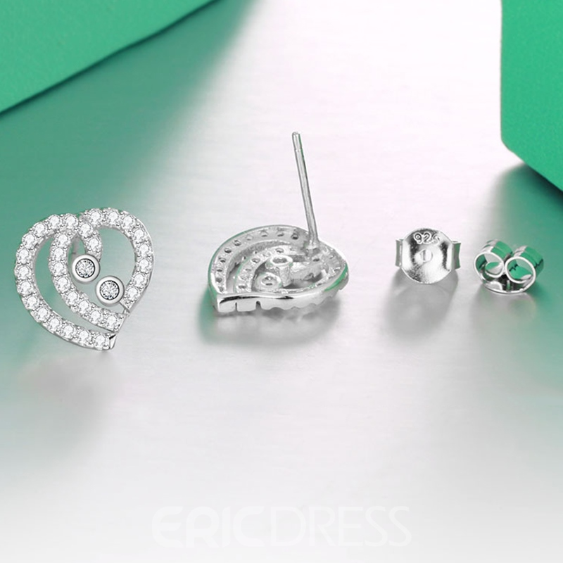 MarkChic Romantic S925 Sterling Heart Diamante Stud