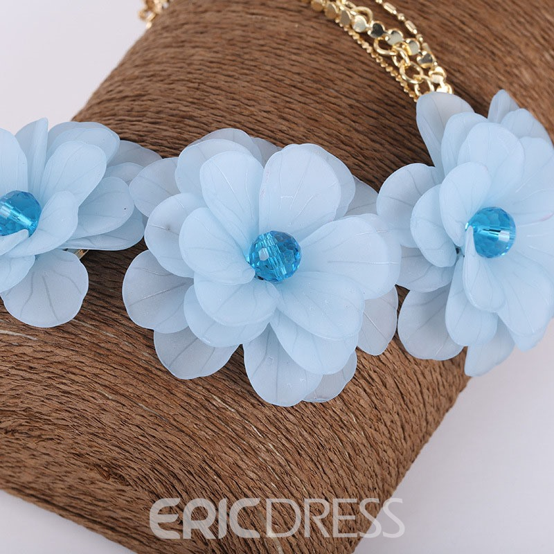 Ericdress Vintage Acrylic Flower Pendant Lady Necklace