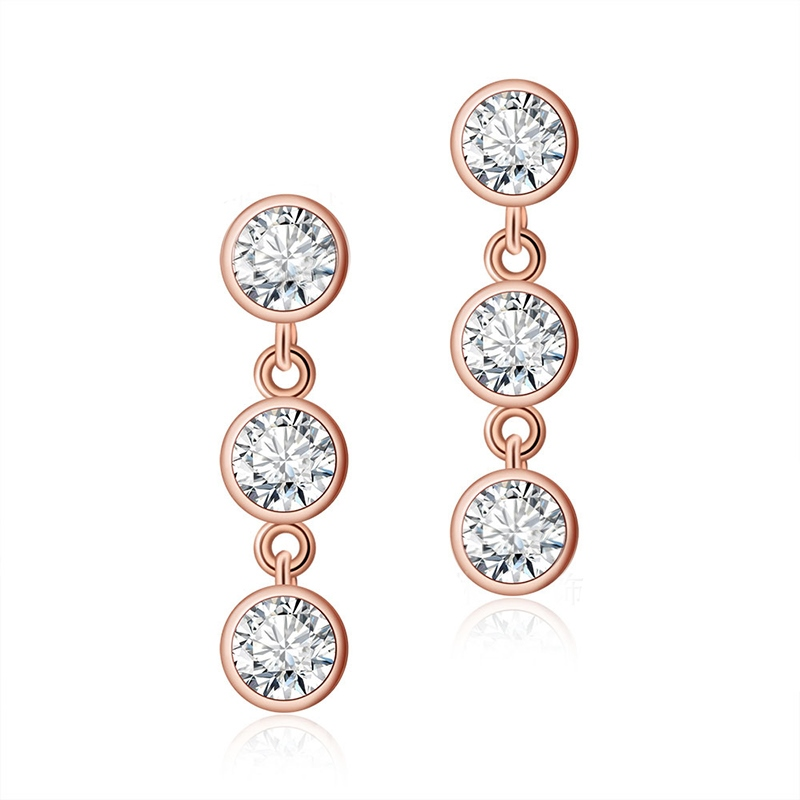 MarkChic Graceful Three Rhinestone Rose Gold Fashion Earring