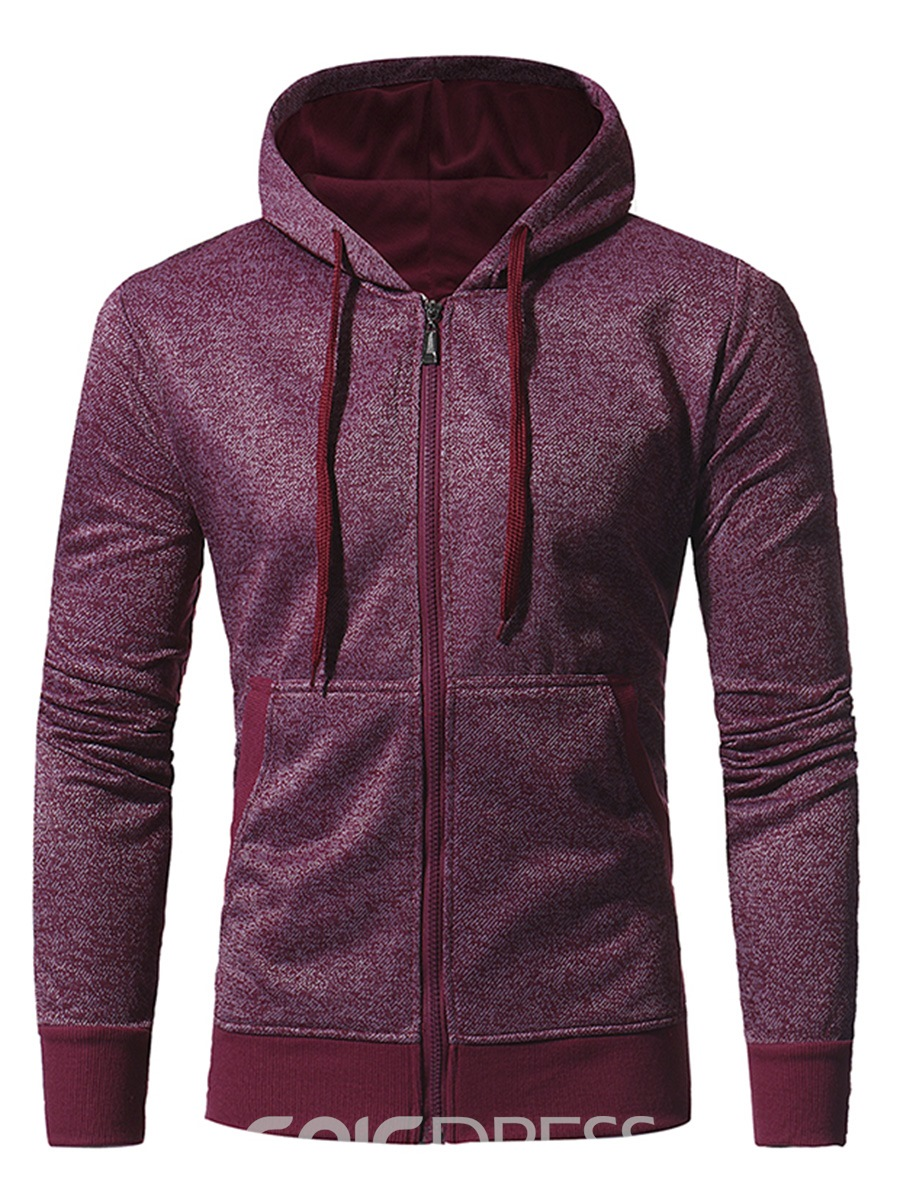Ericdress Zip Plain Simpel Casual Men's Hoodie