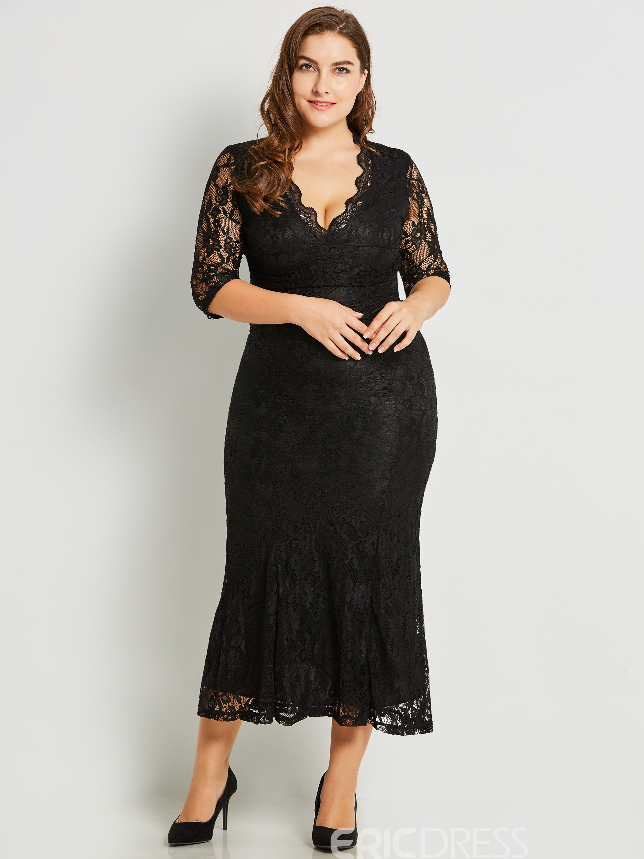 Ericdress Cross V-Neck Patchwork Lace Maxi Dress