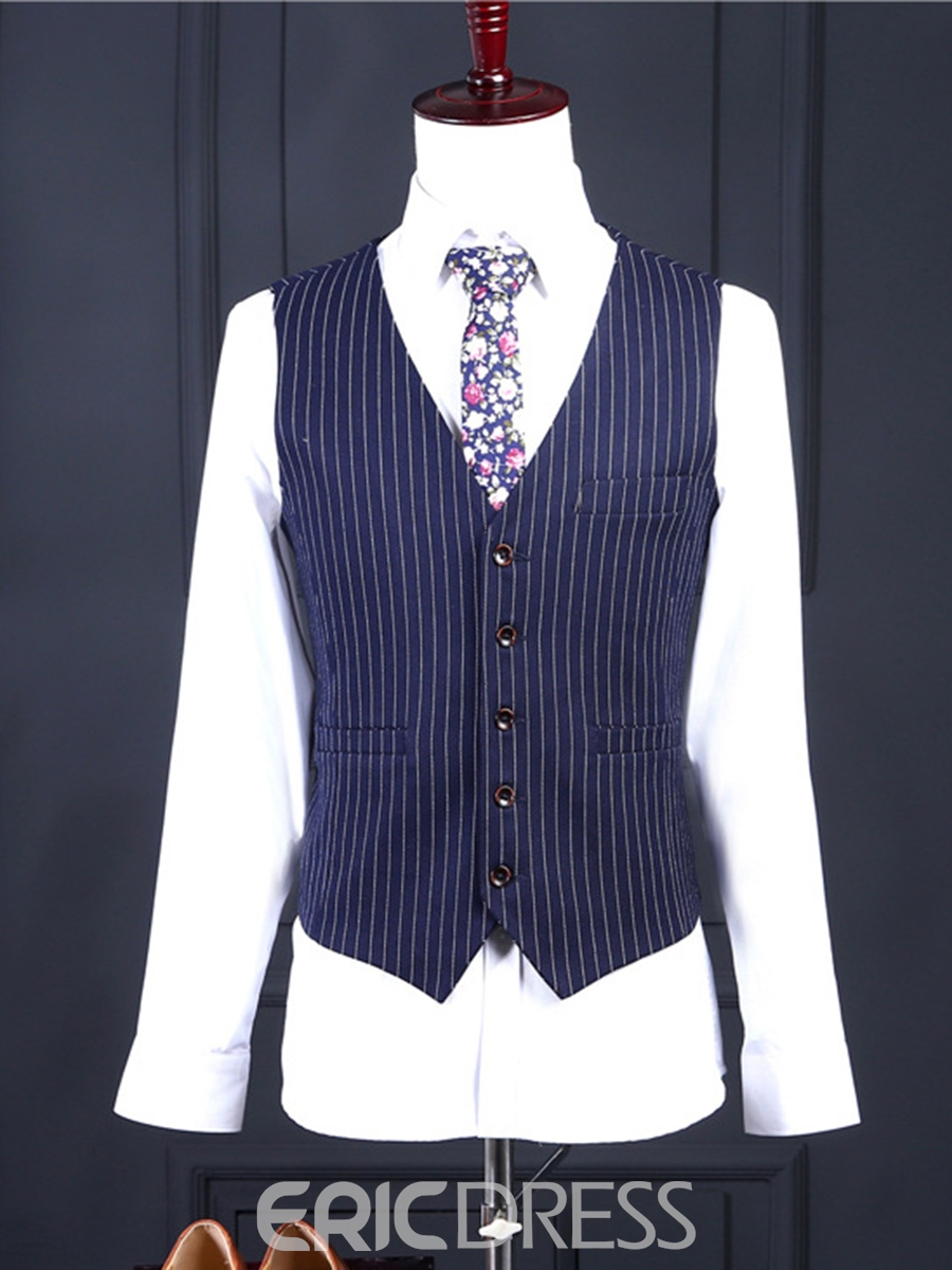 Ericdress Three-Piece of Stripe Business Slim Men's Suit
