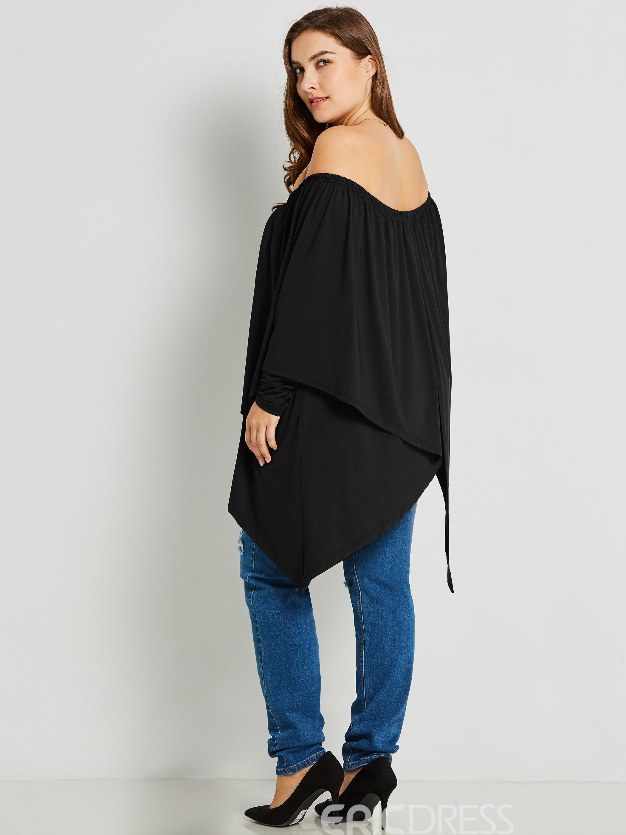 Ericdress Slash Neck Asymmetric Mid-Length Blouse