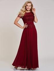 Image of Ericdress Scoop Neck Short Sleeves Lace Evening Dress