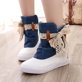 Ericdress Casual Lace Color Block Flat Boots