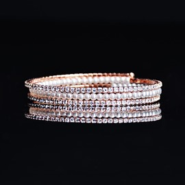 Ericdress Rose Gold Imitation Pearl & Rhinestone Women's Bracelet