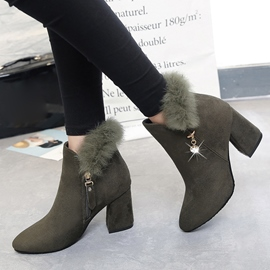 Ericdress Fur Rhinestone Round Toe High Heel Ankle Boots