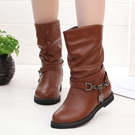 Ericdress Chain Plain Round Toe Flat Boots