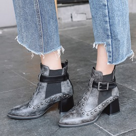 Ericdress Rivet Hasp Color Block Ankle Boots