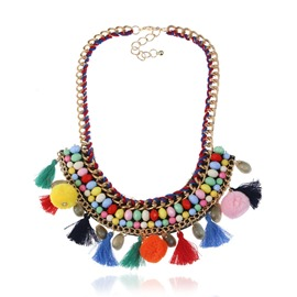 Ericdress Special Alloy Turquoise Fuzzy Ball Tassel Necklace