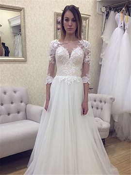 Ericdress A Line Appliques Half Sleeves Tulle Backless Wedding Dress