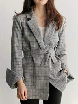 Ericdress Notched Lapel Mid-Length Plaid Jacket