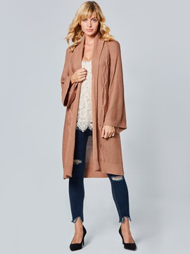Ericdress Lapel Plain Long Cardigan Knitwear