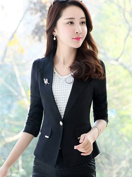 Ericdress Slim One Button Solid Color Blazer