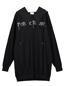 Drawstring Letter Embroideried Women's Hoodie