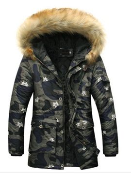 Ericdress Faux Fur Collar Hooded Camouflage Print Men's Winter Coat