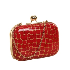 Ericdress Vintage Stone Grain Chain Clutch