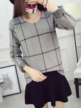 Ericdress Plaid Loose Thick Pullover Knitwear