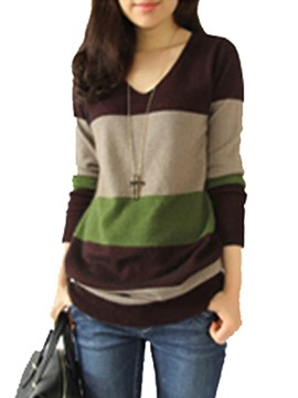 Ericdress V-Neck Stripe Loose Mid-Length Knitwear