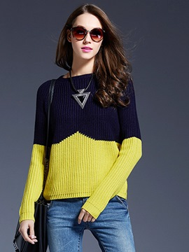 Ericdress Patchwork Color Block Loose Knitwear
