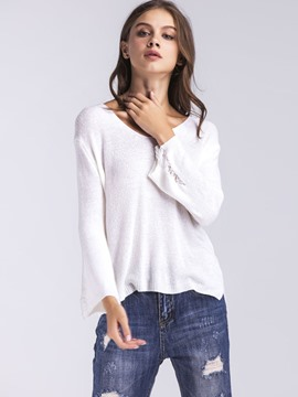 Ericdress V-Neck Hollow Flare Sleeve Knitwear