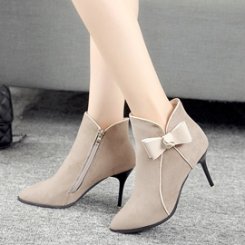 Ericdress Fashion Pointed Toe Plain High Heel Boots with Bowknot