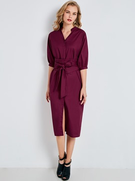 Ericdress Stand Collar Single-Breasted Lace-Up Casual Dress