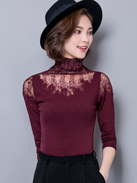 Ericdress Slim Lace High Neck Blouse