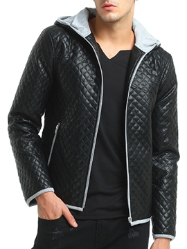 Ericdress Hooded Patched Zip Casual Men's Jacket