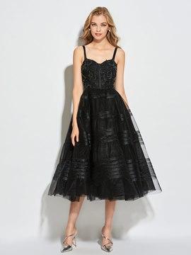 Ericdress Straps Reich Perlen Tee Länge Ball Cocktail Kleid