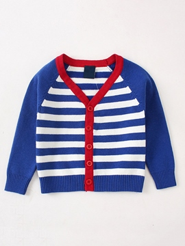 Ericdress Thick Stripe Patchwork V-Neck Cardigan Baby Boys Outerwear