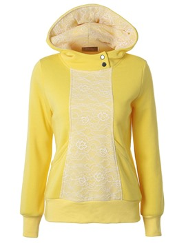 Ericdress Slim Plain Pullover Lace Cool Hoodie