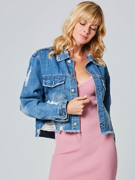 Ericdress Short Single-Breasted Denim Jacket