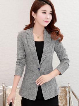 Ericdress Slim Plain One Button Pocket Blazer