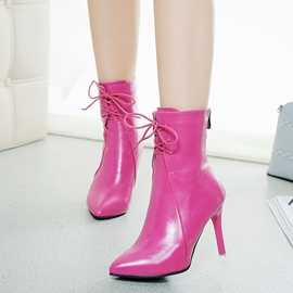 Ericdress Fashion Cross Strap Pointed Toe Plain High Heel Boots