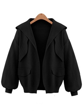 Ericdress Plain Lantern Sleeve Hooded Jacket