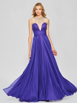 Ericdress A Line Scoop Neck Beaded Floor Length Long Prom Dress