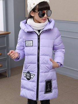 Ericdress Thick Hooded Long Length Girl's Down Jacket