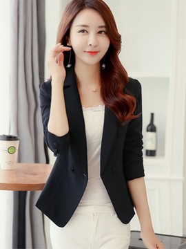 Ericdress Slim Plain Double-Breasted Blazer