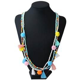 Ericdress Popular National Style Tassel Beads Long Necklace