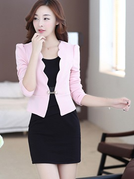 Ericdress Double-Breasted Jacket and Dress Women's Suit