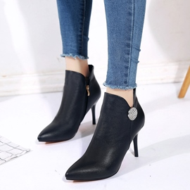 Ericdress Rhinestone Pointed Toe Plain High Heel Boots