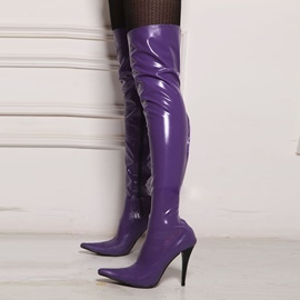 Ericdress Fashion Purple Pointed Toe Thigh High Boots