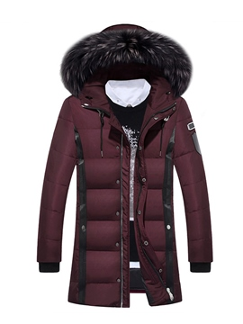 Ericdress Faux Fur Collar Thicken Warm Zip Men's Winter Coat